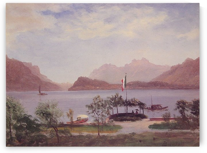 Italian lake scene by Albert Bierstadt