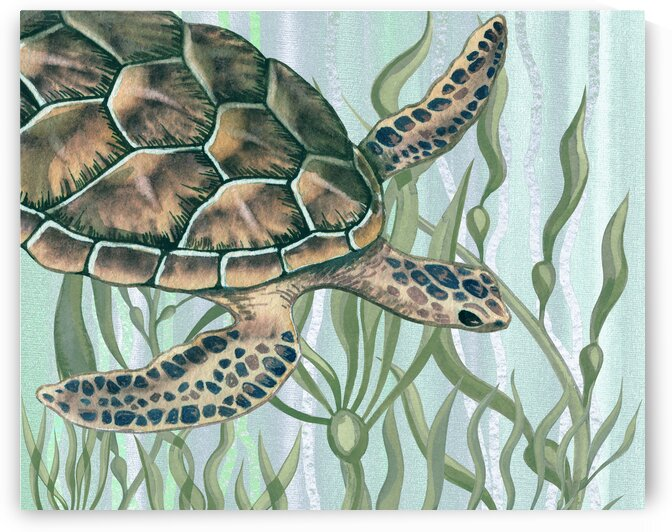 Watercolor Giant Turtle In The Seaweed Under Water III by Irina Sztukowski