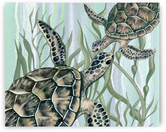 Watercolor Giant Turtles In The Seaweed Under Water IV by Irina Sztukowski