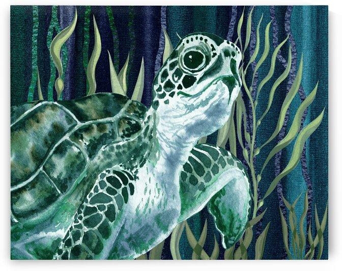 Watercolor Giant Turtle In The Seaweed Under Water VI by Irina Sztukowski