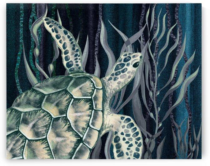 Watercolor Giant Turtle In The Seaweed Under Water VII by Irina Sztukowski