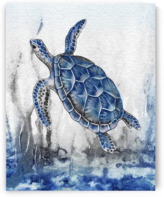 Watercolor Giant Turtle In Abstract Seaweed And Water IX by Irina Sztukowski