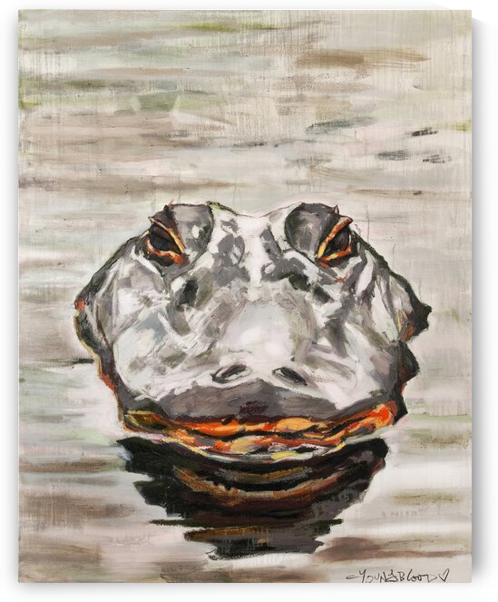 Vertical Louisiana Alligator with Reflection in the Bayou by Caroline Youngblood