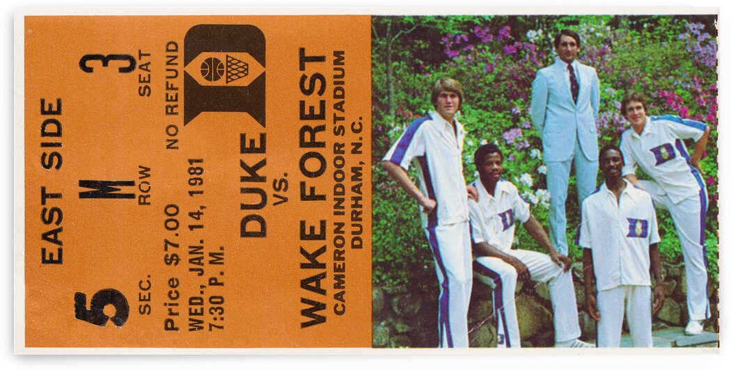 1981 Duke Basketball Ticket Canvas by Row One Brand
