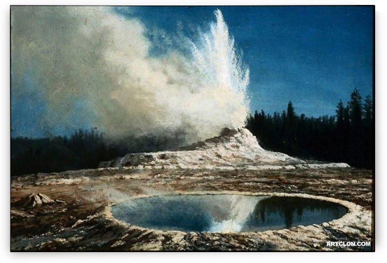 Geyser Yellowstone Park, 1881 by Albert Bierstadt
