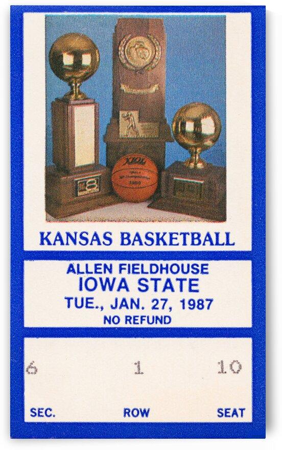 1987 Kansas Basketball Ticket Canvas  by Row One Brand