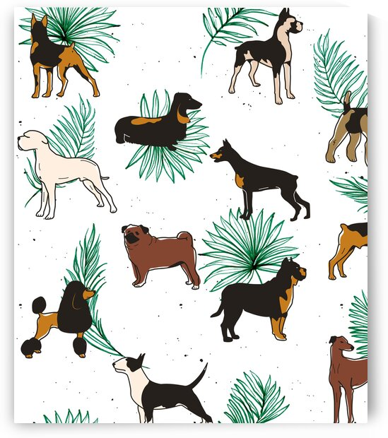 Miracles with paws Tropical Cute Quirky Dog Pets Illustration Whimsical Dachshund Pug Poodle Palm  by 83 Oranges
