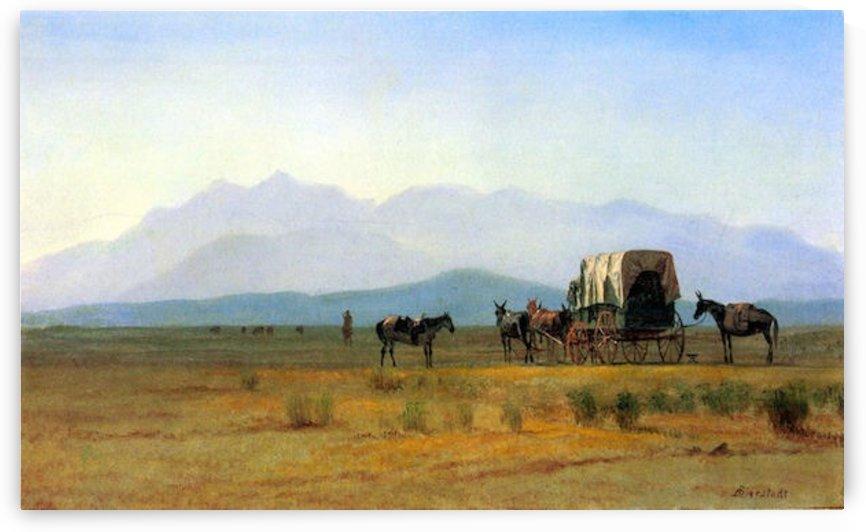 The stagecoach in the Rockies by Bierstadt by Bierstadt