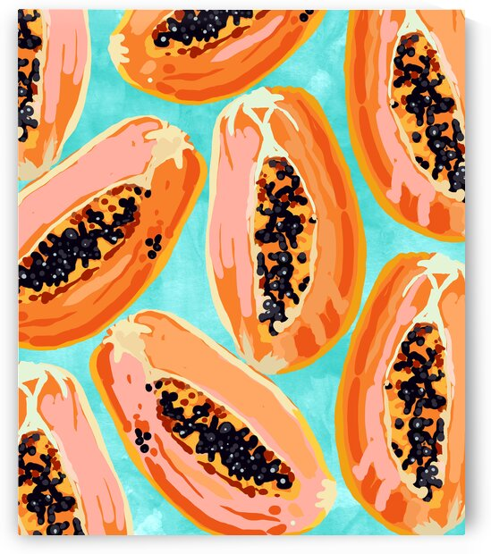 Big Papaya Watercolor Painting Tropical Fruits Illustration Colorful Summer Eclectic Food by 83 Oranges