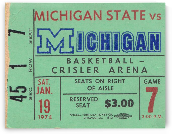 1974 Michigan State vs. Michigan Basketball Ticket Canvas by Row One Brand