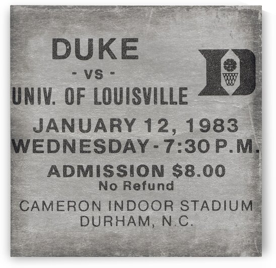 Duke Basketball Ticket Metal Sign 1983 by Row One Brand
