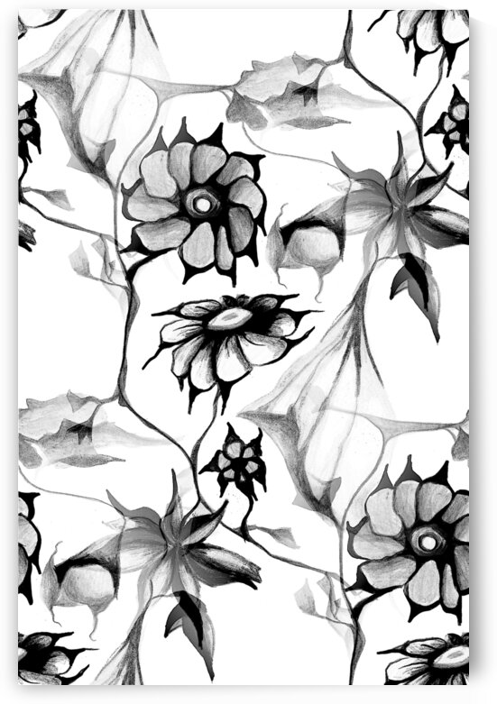 Black and White Perennial Floral Pattern  by Nisuris Art