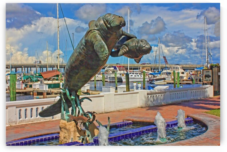 Manatee And Calf Sculpture At The Twin Dolphin by HH Photography of Florida