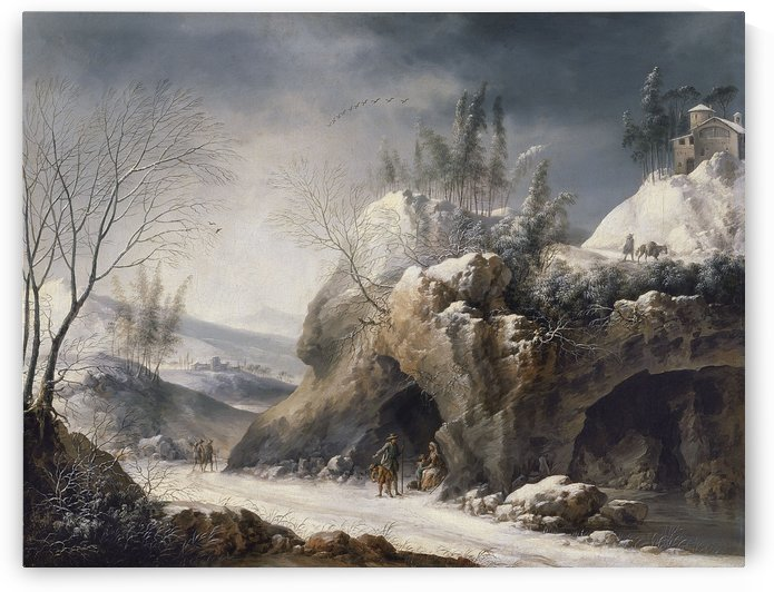 Paesaggio invernale con una famiglia di contadini by Francesco Foschi