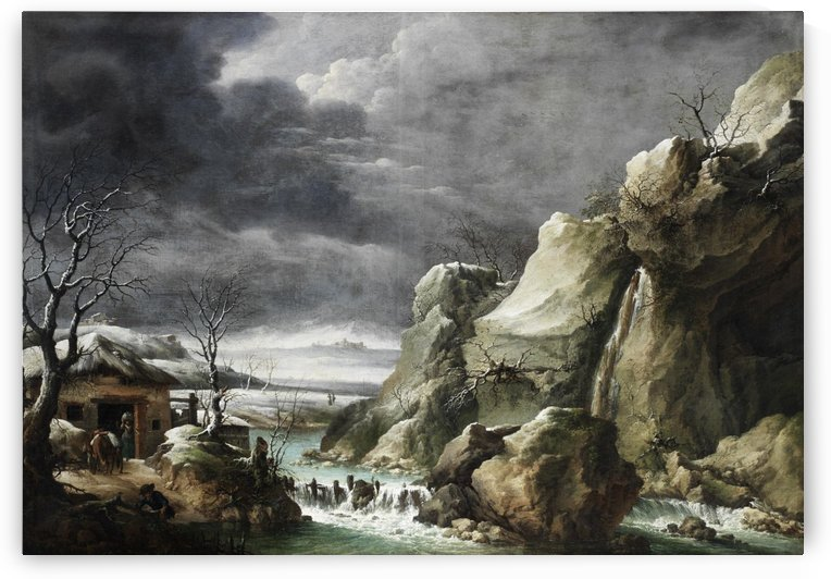 Travellers approaching a barn in a winter landscape, under a stormy sky by Francesco Foschi