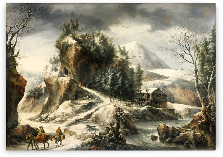 Winter landscape with a cavern and travellers by Francesco Foschi
