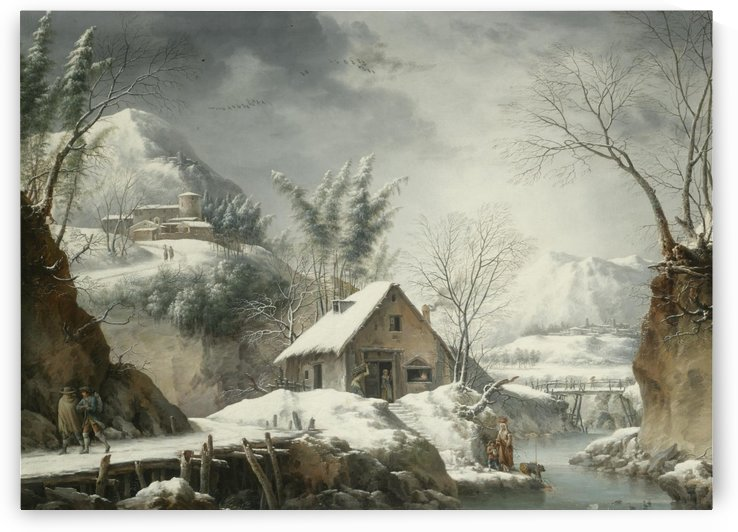 A mountainous winter landscape with figures collecting water from a stream by Francesco Foschi