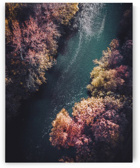 Aerial view of a river flowing through Vaihingen an der Enz  Germany by 7ob