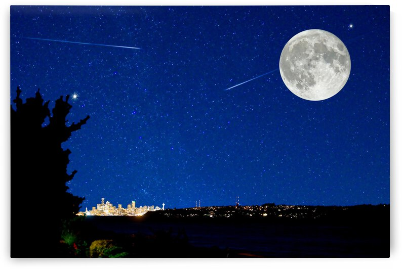 Night Scape City Skyline Magical Full Moon Shooting Stars Stars Night Glow by 7ob