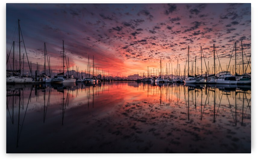 Landscape Yacht Sunrise Clouds Reflection Sea Water Ocean by 7ob