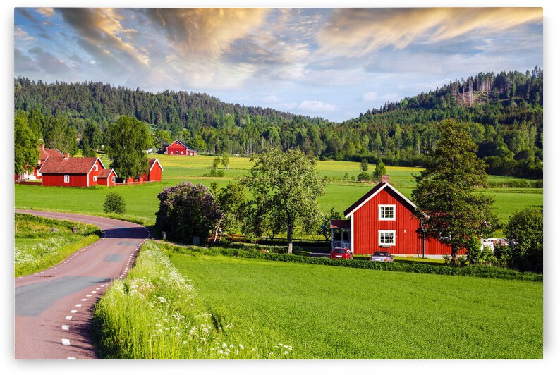 Landscaped Nordic Countries Old Scenics Sweden Cottage Country Road Farm Field Forest by 7ob
