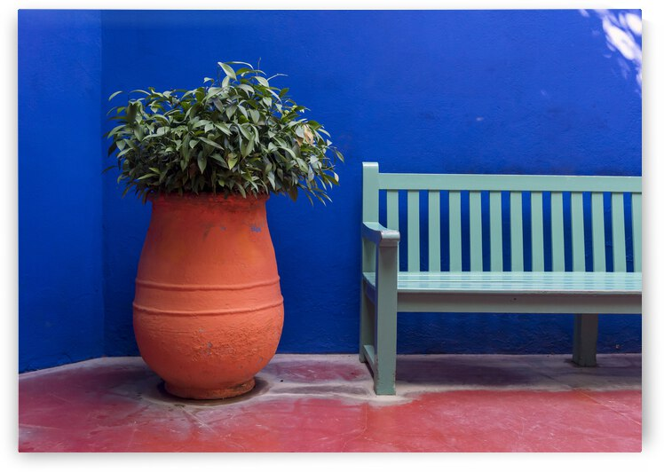 Flower-pot and bench Majorelle Garden Marrakech by Petr Svarc