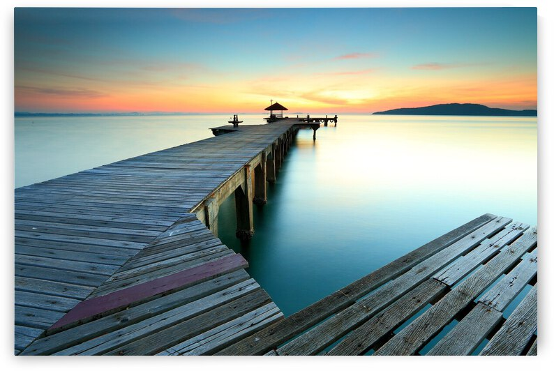 Nature Horizon Sea Sky Water Pier Dock Sunset Reflection Calm  Evening Lake by 7ob
