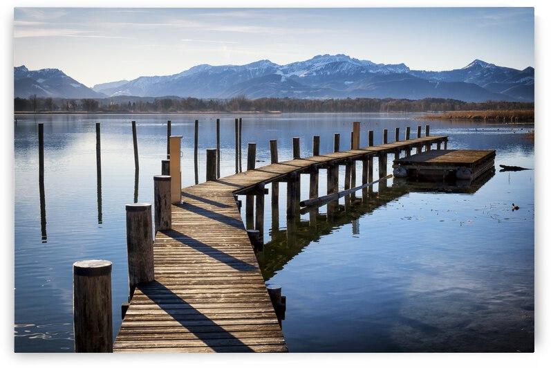 Blue Bollard Bridge Brown Calm Clear Horizon Jetty Lake Landscape Mountain by 7ob