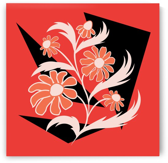 Abstract folk floral art. Flowers print poster.  by Eskimos