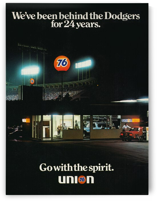 76 Gas Station Dodgers Ad Poster by Row One Brand