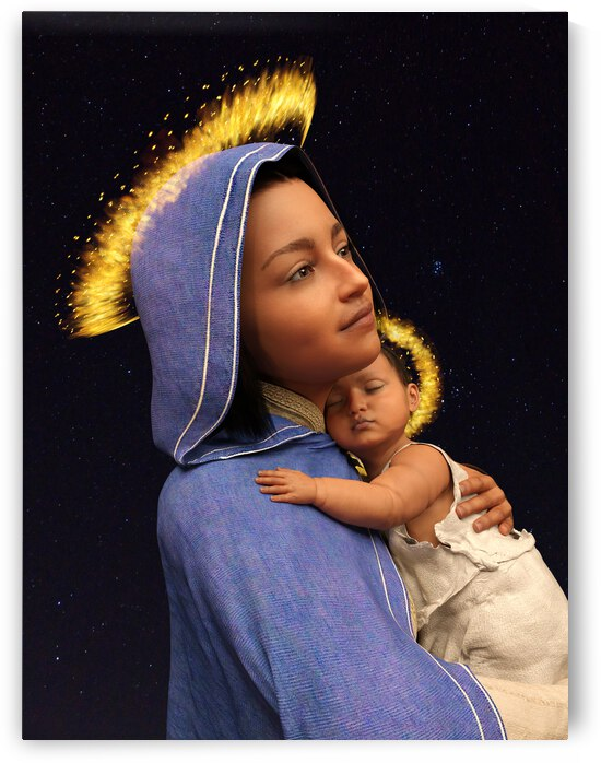 Madonna And Child - Mary and Jesus - 75MP 3:4 ratio by Kevin Michael VerKamp