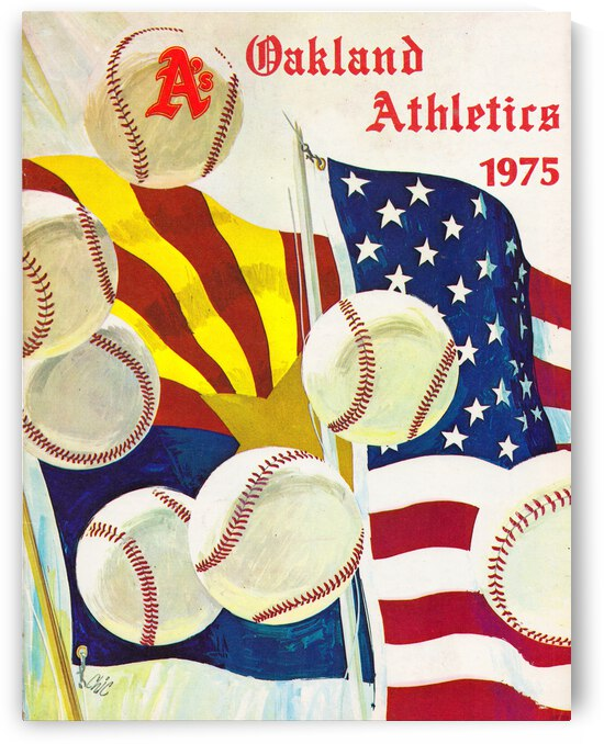 1975 Oakland Athletics Baseball Poster by Row One Brand