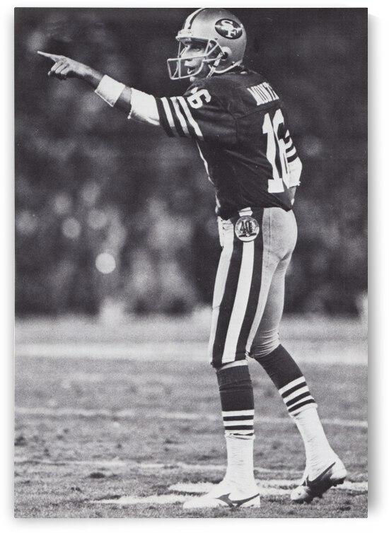 1986 San Francisco 49ers Joe Montana Black And White Poster by Row One Brand