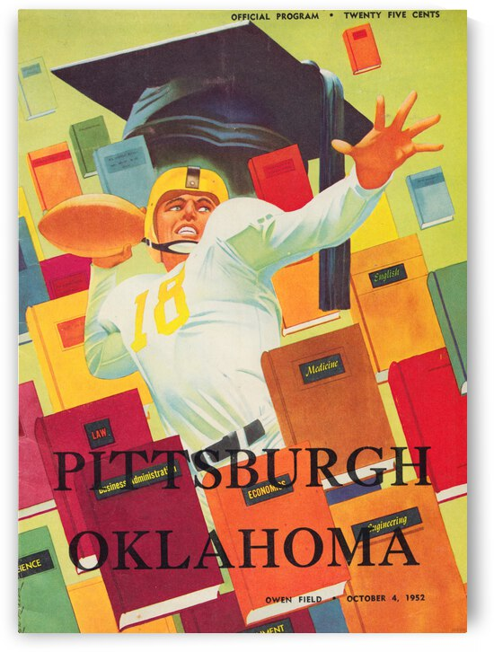 1952 Pittsburgh vs. Oklahoma Football Program Cover Canvas by Row One Brand