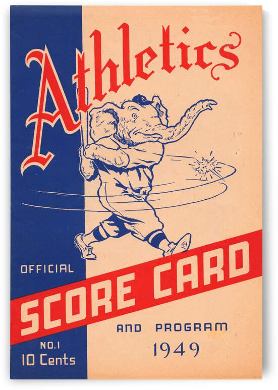1949 Philadelphia Athletics Score Card Canvas by Row One Brand