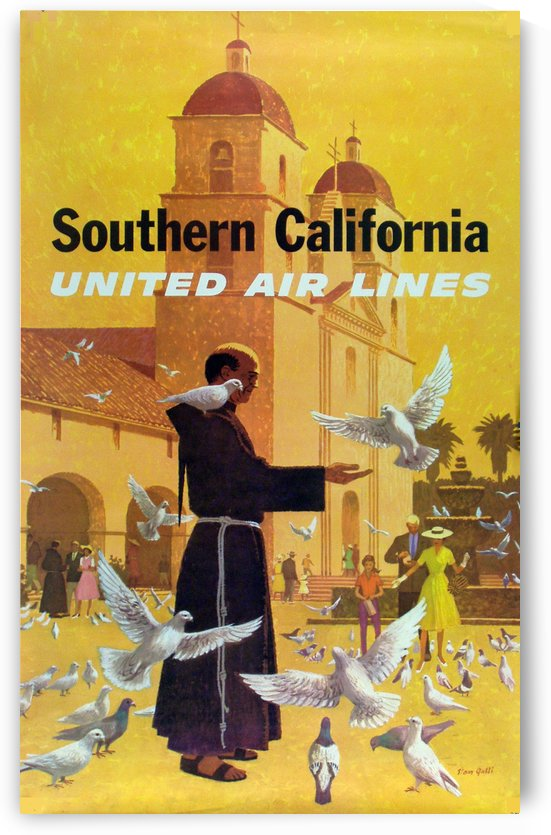 United Air Lines Southern California Monk by VINTAGE POSTER