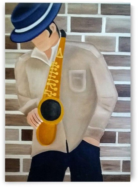 Joueur de saxophone by France Asselin