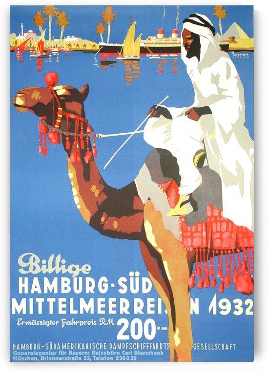 Hamburg-Sud Billige Mittelmeerreisen Original Poster by VINTAGE POSTER