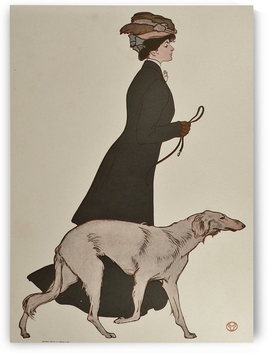 Woman Walking Borzoi Russian Wolfhound Dog by VINTAGE POSTER