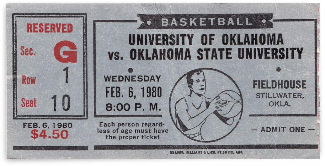 1980 Oklahoma State Cowboys Basketball Ticket Canvas by Row One Brand