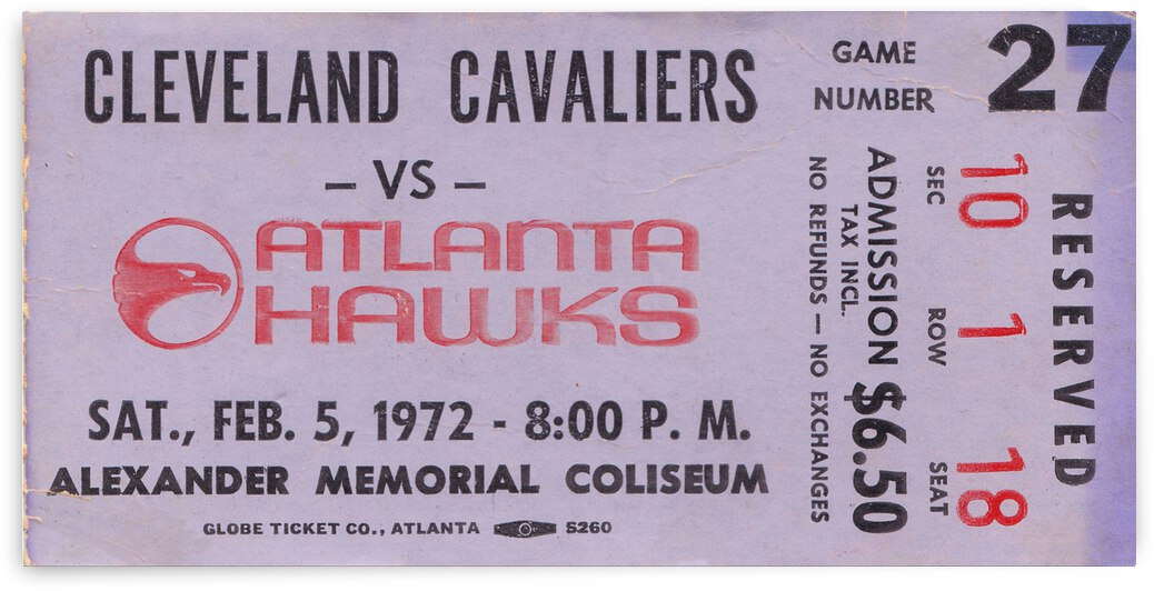 1972 Atlanta Hawks Basketball Ticket Canvas by Row One Brand