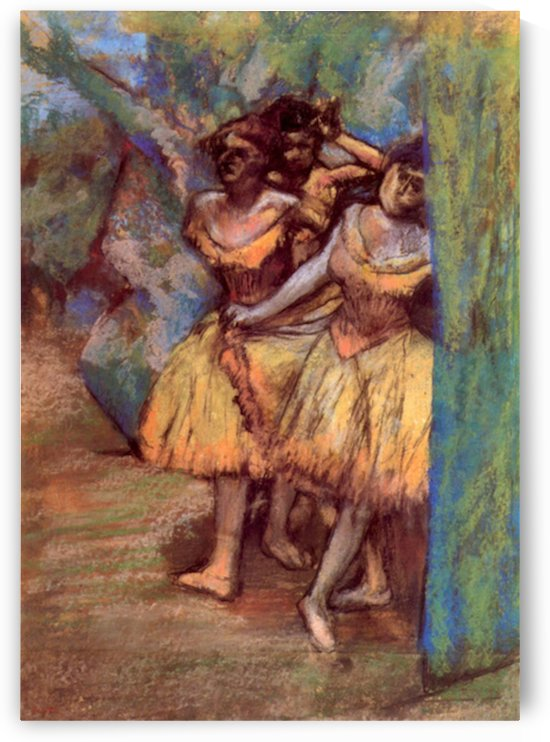 Three dancers behind the scenes by Degas by Degas