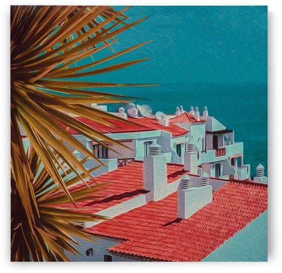 Palm leaves on the background of the sea city.  by Ievgeniia Bidiuk