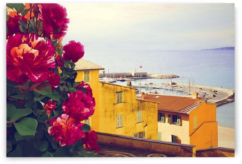 Rose bush on the background of a fishing town.  by Ievgeniia Bidiuk