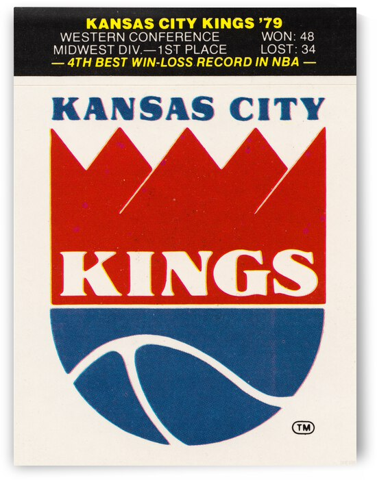 1979 Kansas City Kings Fleer Decal Poster by Row One Brand