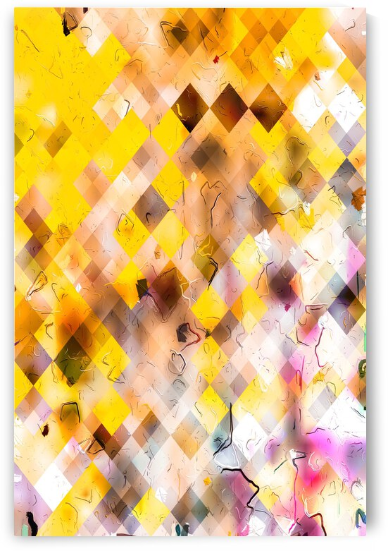 geometric square pixel pattern abstract in yellow brown pink by TimmyLA