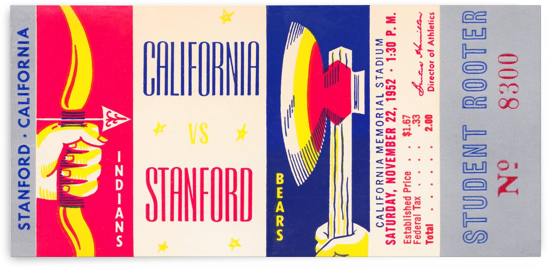 1952 California vs. Stanford Football Ticket Canvas by Row One Brand