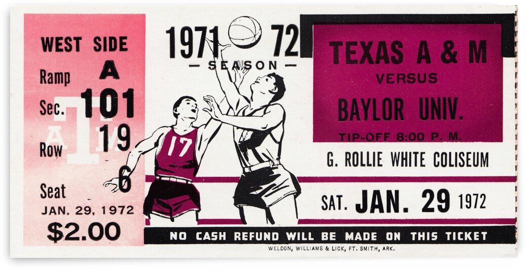 1971 Texas A&M vs. Baylor Basketball Ticket Canvas by Row One Brand