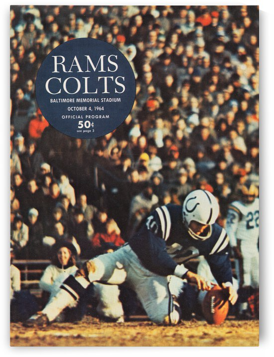 1964 Baltimore Colts Program Cover Canvas by Row One Brand