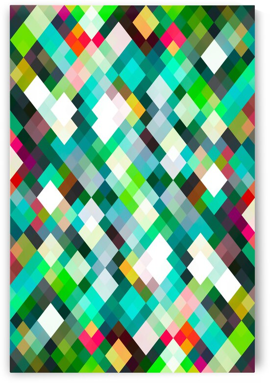 geometric square pixel pattern abstract art background in green red yellow by TimmyLA